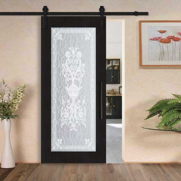 Sliding MR MDF veneered barn door with textured glass insert (victorian frosted design) and carbon steel sliding system