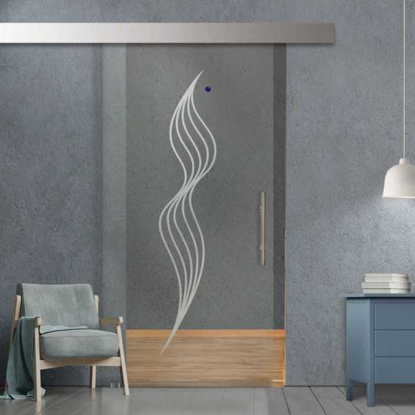 Single Sliding Glass Barn Door SGD-ALU100-0092