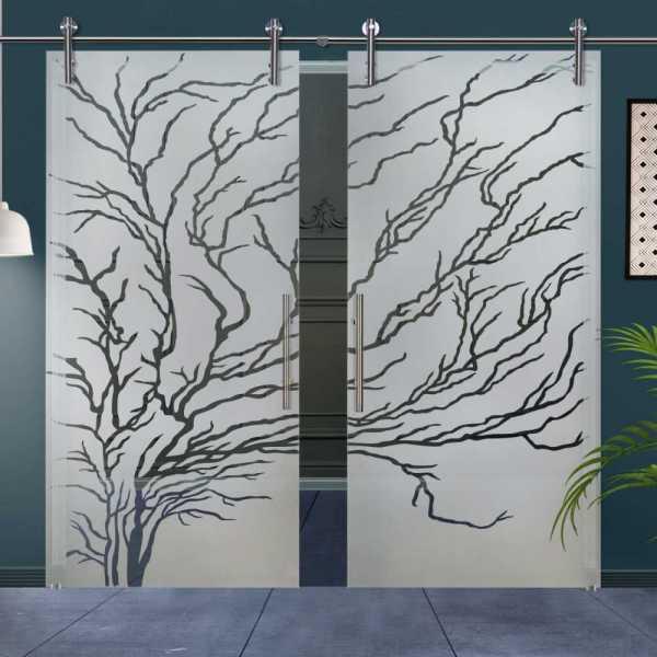 Double Glass Barn Door (Model DSGD-V1000-0100 Semi-Private)