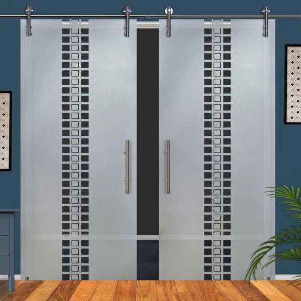 Double Glass Barn Door (Model DSGD-V1000-0057 Semi-Private)