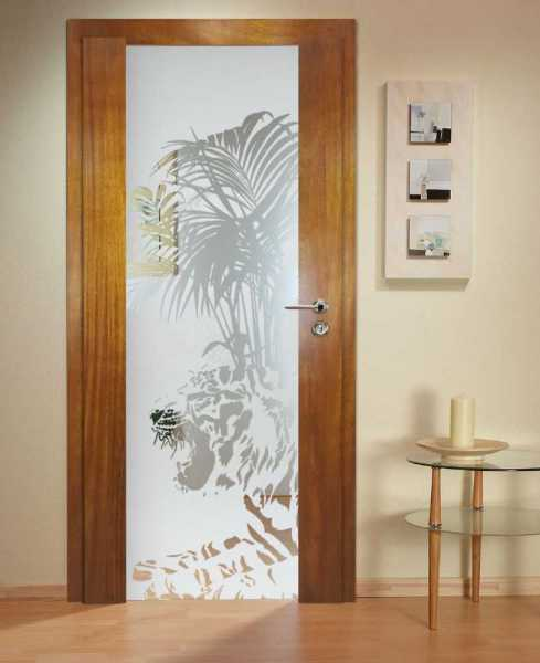 Solid Wood Hinged Door with Glass Insert HWDI-0030