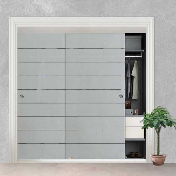 Frameless 2 Leaf Sliding Closet Bypass Glass Door with Hardware CGD-0010