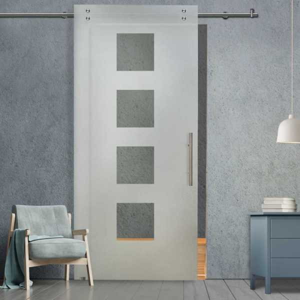 Glass Barn Door (Model SGD-V2000-0226 Semi-Private)