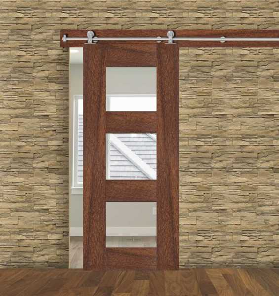 3 Lite African Walnut Hardwood Sliding Barn Door with Glass Insert WGD-0059