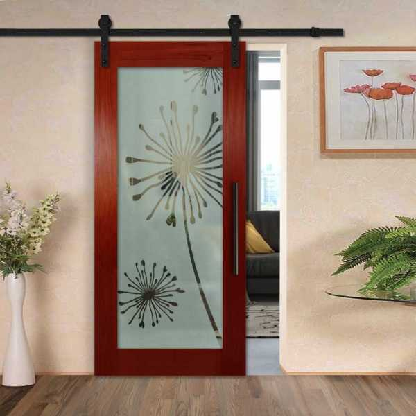 Solid white ash sliding door with glass insert (semi-private frosted design) and carbon steel sliding system