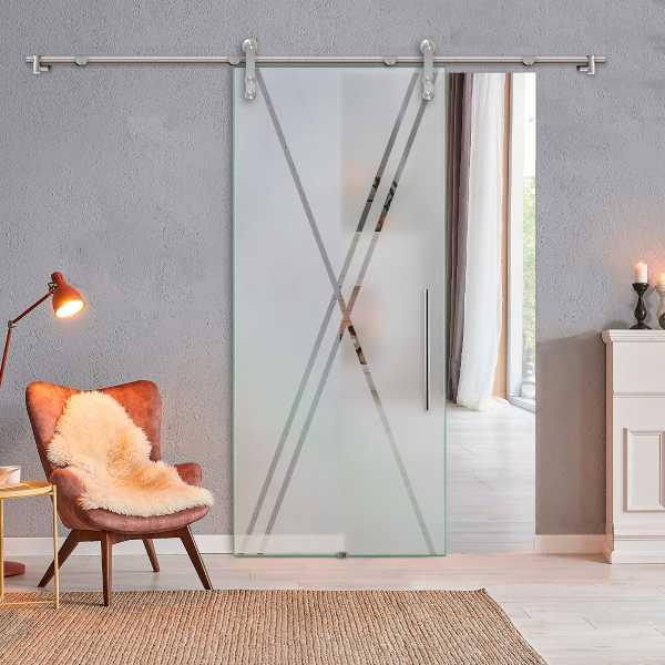 Glass Barn Door (Model SGD-V1000-0303 Semi-Private)