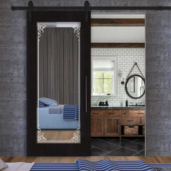 Sliding wenge veneered barn door with mirror insert (frosted design) and carbon steel sliding system