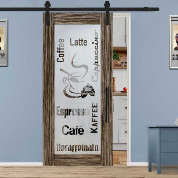 Veneered Coffee Room Sliding MDF Wood Barn Door with Glass Insert VWGD-0021