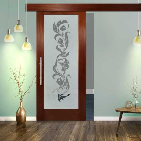 """++Sales Offers++ 32""""x 84"""" Wood-Glass Barn Door with Glass Insert + Semi-Private Design + Hardware"""