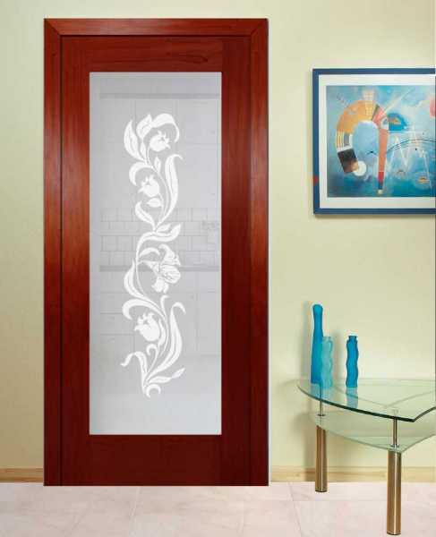 "Solid Mahogany Wood Hinged Door , 30"" x 80"", Mahogany 5 Stain and Opaque Design without Hardware"