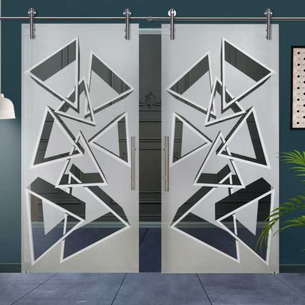 Double Glass Barn Door (Model DSGD-V1000-0038 Semi-Private)