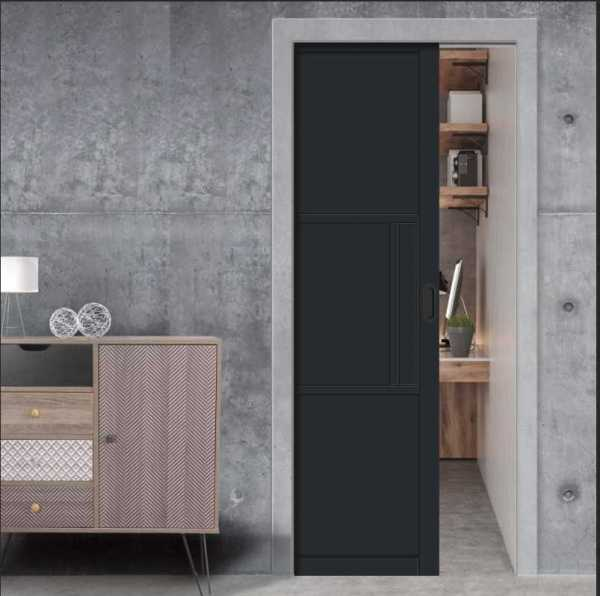 3 Panel Industrial Style Pocket Door painted with polyurethane coating RAL:9011