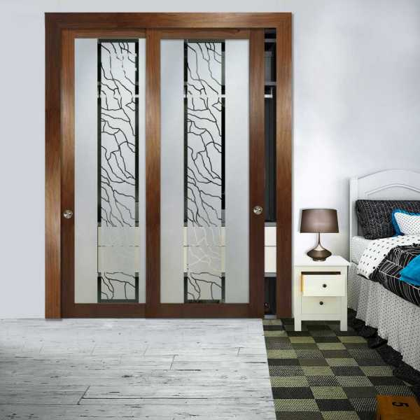 2 Panel Wooden Glass Bypass Closet Door with Hardware