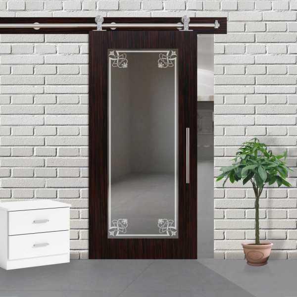 Veneered Sliding MDF Wood Barn Door with Mirror Insert VWGD-0049