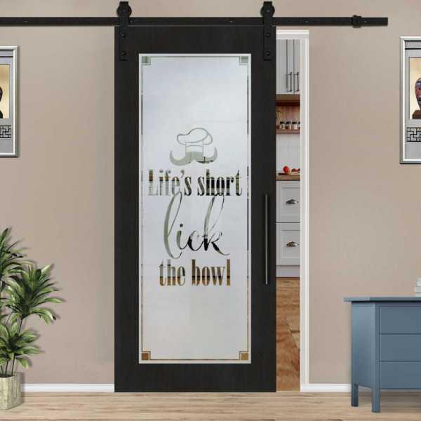 Veneered Pantry Room Sliding MDF Wood Barn Door with Glass Insert VWGD-0032