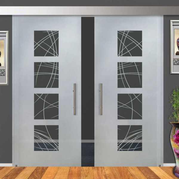 Double Sliding Barn Glass Door DSGD-ALU100-0205
