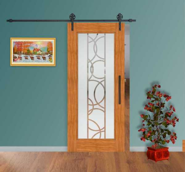 Real Solid Hardwood Sliding with Glass Insert WGD-0024