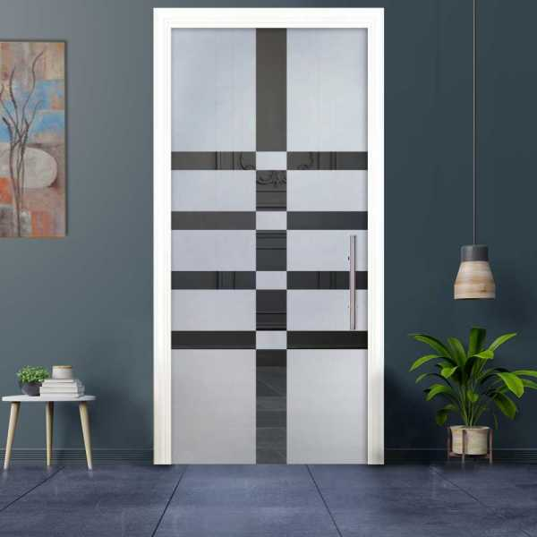 Sliding Pocket Glass Door with Frosted Design and Hardware PSGD-0038