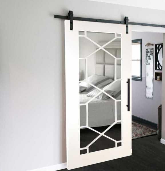 "Mirrored Sliding Barn Door with Mirror Insert, 42"" x 82"", Custom-Made"