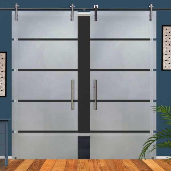 Double Sliding Glass Barn Door DSGD-V1000-0200