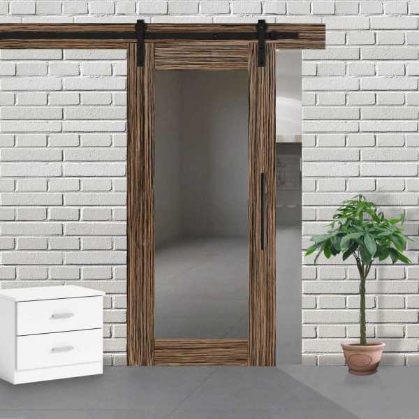 Veneered Sliding MDF Wood Barn Door with Mirror Insert VWGD-0050