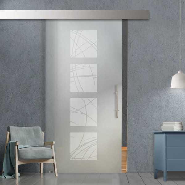 """36"""" x 96"""" Sliding Glass Barn Door SGD-ALU100-0025 Full-Private"""