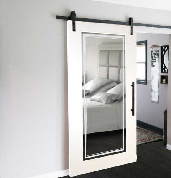 Mirrored Sliding Barn Door with Mirror Insert WMD-0011
