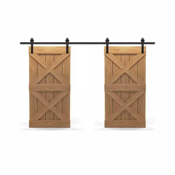 Real Solid Hardwood Double X Double Sliding Barn Door WD-0021