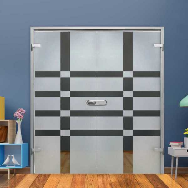 Double Hinged Glass Door (Model H-H+DHGD-0007 Semi-Private)