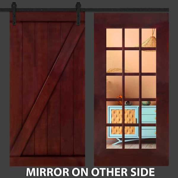 Hybrid Z Barn Door with Mirror Insert and Five Panel Frame