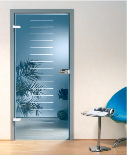 """Artic Blue Hinged Glass Door, 44"""" x 96"""", Glass Thickness: 10 mm"""