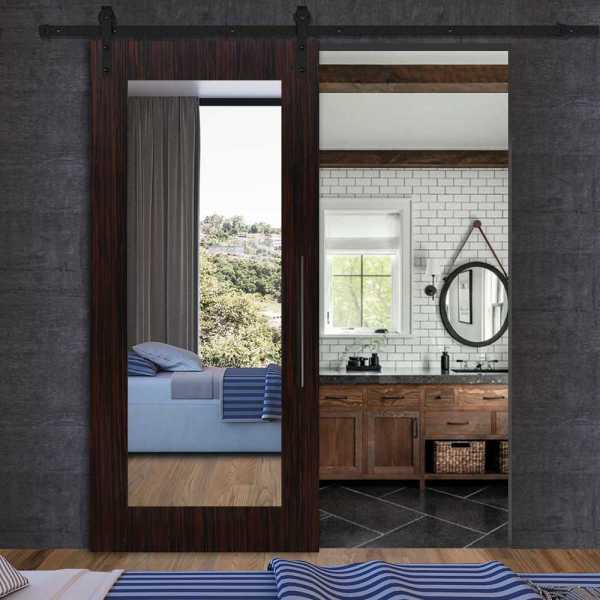 Sliding MR MDF veneered barn door with mirror insert and carbon steel sliding system