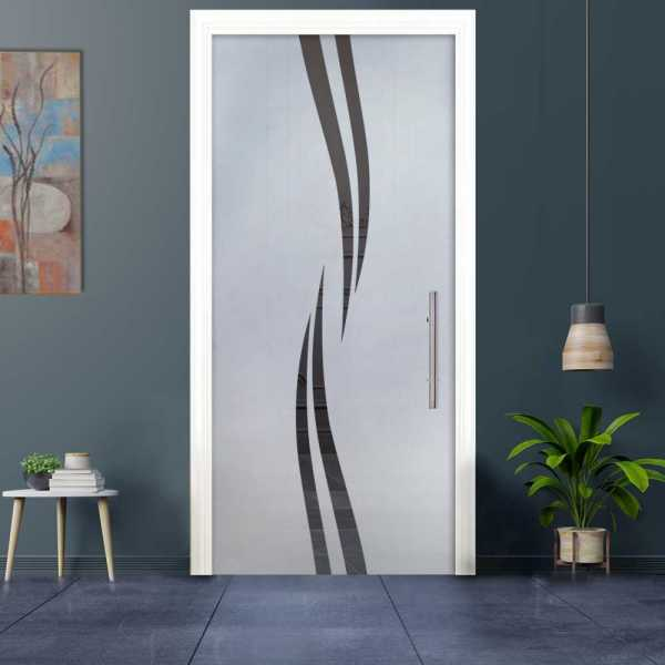 Sliding Pocket Glass Door with Frosted Design and Hardware PSGD-0023