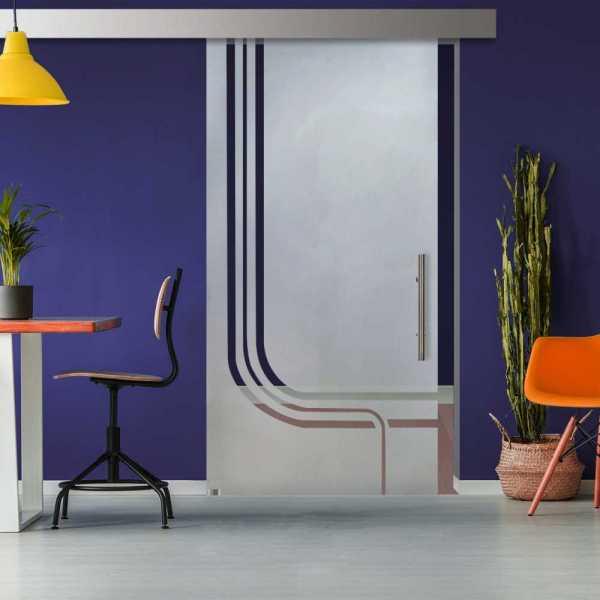 Glass Barn Door (Model SGD-ALU100-0309 Semi-Private)