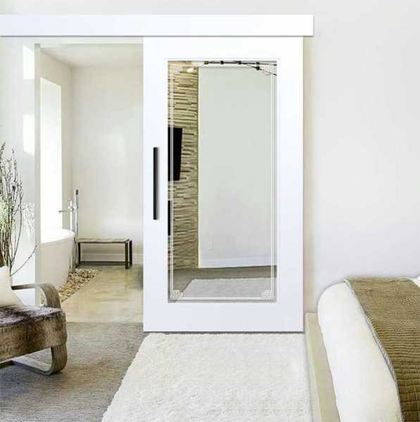 """Mirror Sliding Barn Door, 46""""x84"""", Finishing: Primed with Frosted Design & Hardware Kit"""