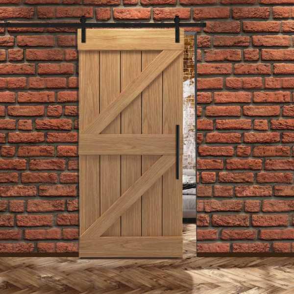 Real Solid Hardwood Z Sliding Barn Door WD-0013