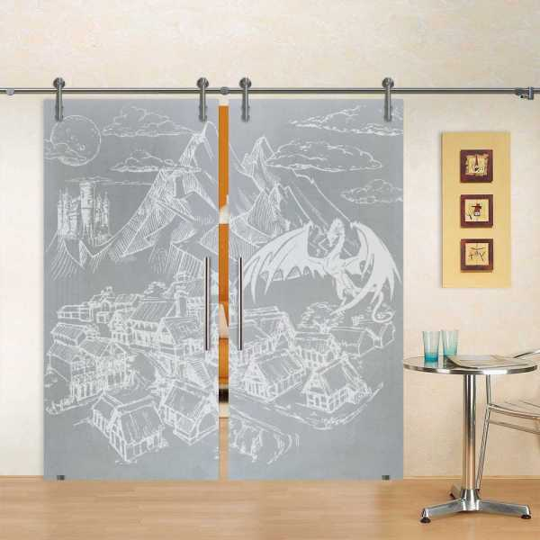 "Double Sliding Glass Barn Door, 50""x96"", Glass Thickness: 10mm and Full Private Custom Design"