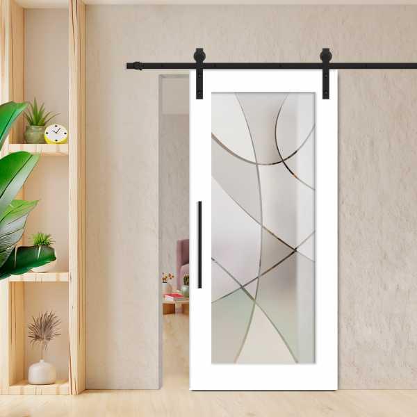 1 Lite Sliding Barn Door with Glass Insert WGD-0016