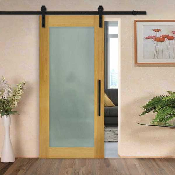 Solid New Zealand oak sliding door with glass insert (full-private) and carbon steel sliding system