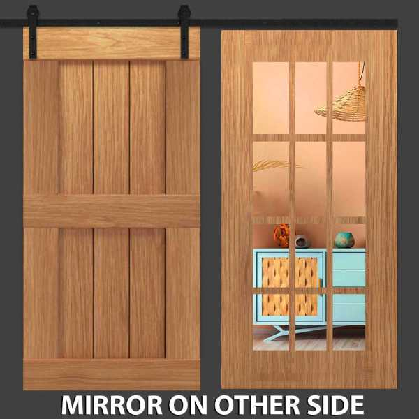 Hybrid Double Panel Barn Door with Mirror Insert and Four Panel Frame