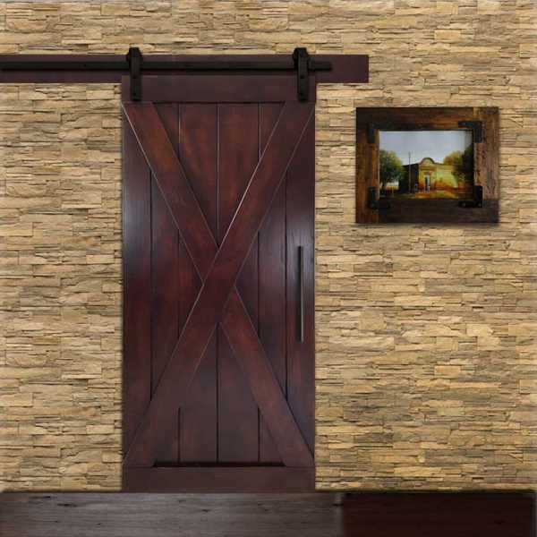 "Pine Wood X Sliding Barn Door 32""x84"" with Walnut Stain WDLAGER-0003"
