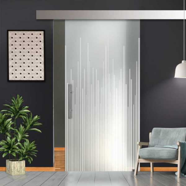 """++Sales Offers++ 34""""x81"""" Sliding Glass Barn Door with Full-Private Frosted Design"""
