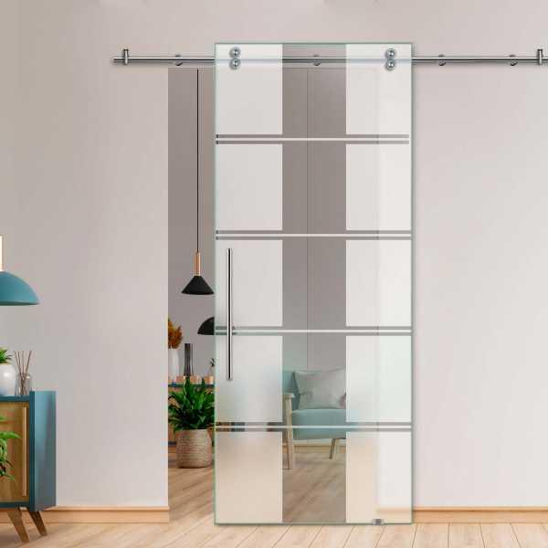 Single Sliding Barn Glass Door SGD-V2000-0429 (Semi-private)
