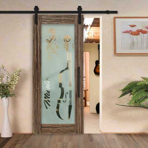 Veneered Music Room Sliding MDF Wood Barn Door with Glass Insert VWGD-0015