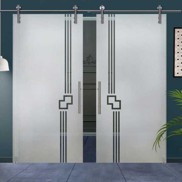 Double Glass Barn Door (Model DSGD-V1000-0032 Semi-Private)
