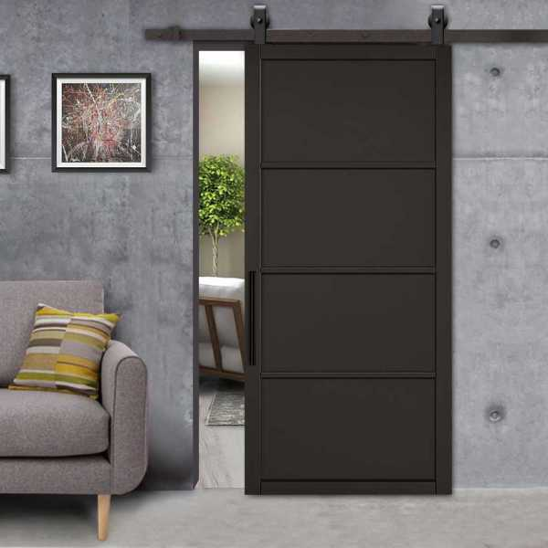 Industrial Style 4 panel Barn Door with Polyurethane Coating with Carbon Steel Hardware & Carbon Steel Handle