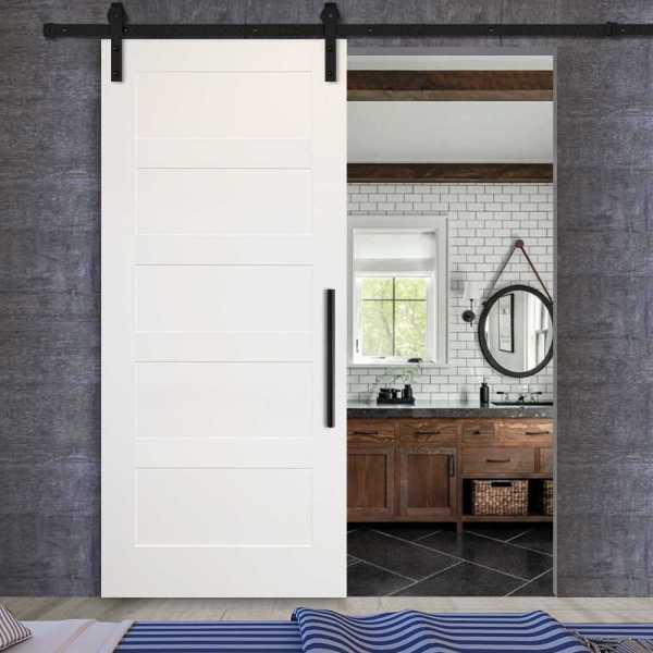 5 Panels Sliding MDF Shaker Barn Door SWD-0005