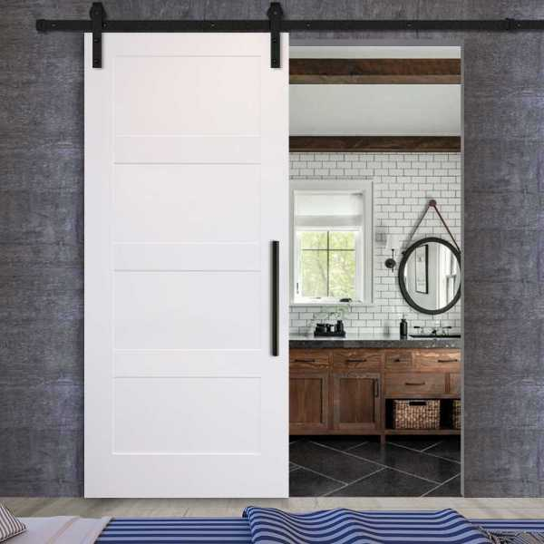 4 panels sliding MR MDF shaker barn door with carbon steel sliding system