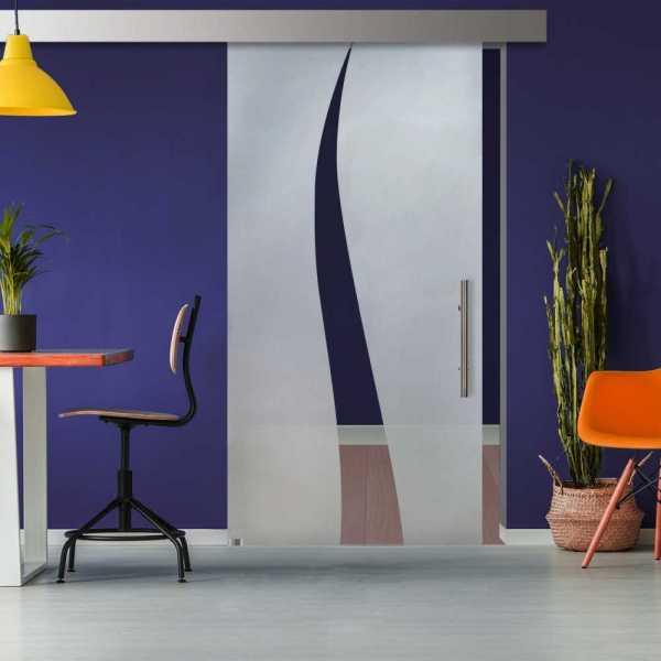 Glass Barn Door (Model SGD-ALU100-0317 Semi-Private)