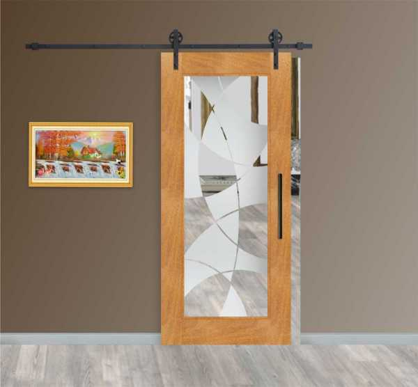 Solid Tropic Real Hardwood Sliding Barn Door with Glass Insert WGD-0017